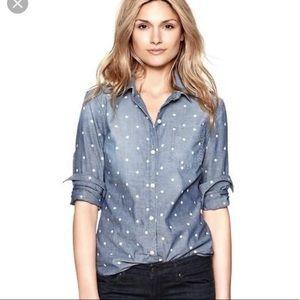 GAP Polka Dot Denim Button Up Shirt & SKIRT